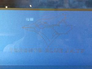 Close up of finished Jays' logo.